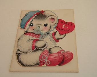 Vintage Greeting Card Baby's First Valentine