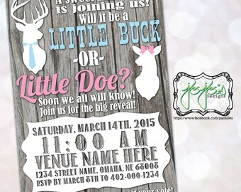 Country Deer Gender Reveal Invitation (Digital File)