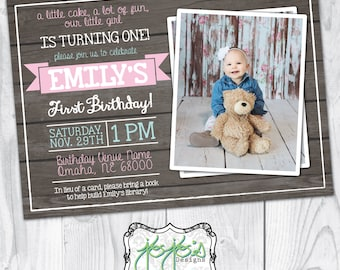Little Girl's First Birthday Photo Invitation (Digital File)