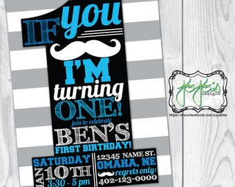 Mustache 1st Birthday Invitation (Digital File)