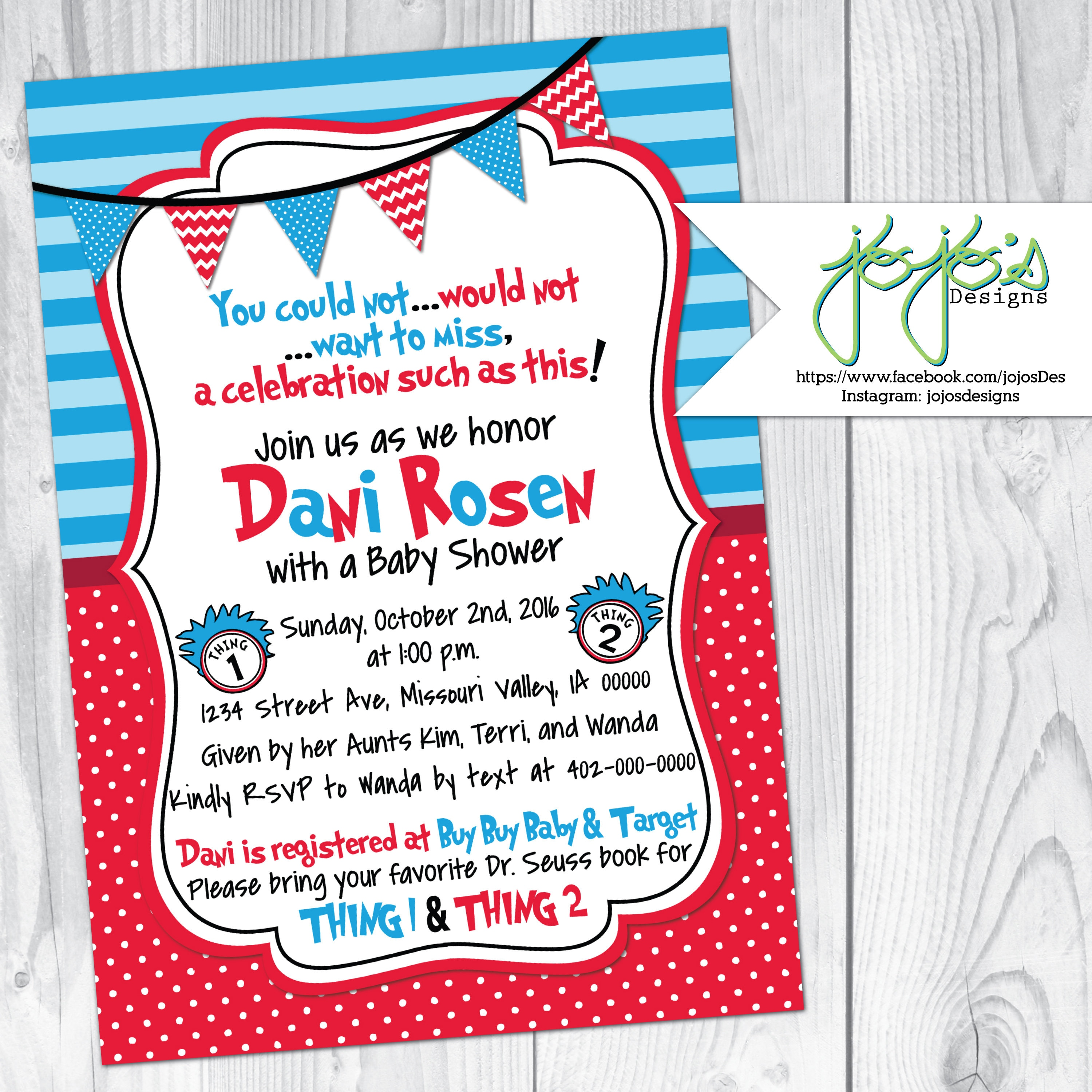 Thing 1 Thing 2 Baby Shower Invitation Twins Red Blue White   Etsy