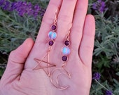 Amethyst Mermaid Glass Copper Wire Star and Moon Earrings Mismatched Earrings Moon Jewelry Purple Opalescent Fairy Witchy Jewelry