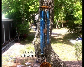 MORNING SONG--Medium Copper Wind Chime with blue patina