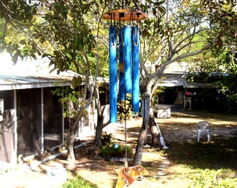DOLPHIN  Small Copper Wind Chime with Blue Patina
