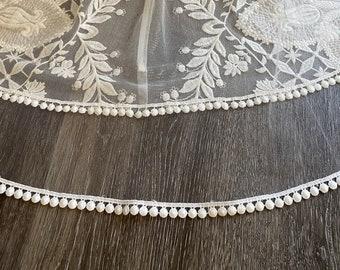 diamond white Veil Crochet Pom Pom trim