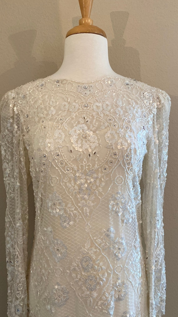 Vintage wedding gown, beaded wedding gown, lace we