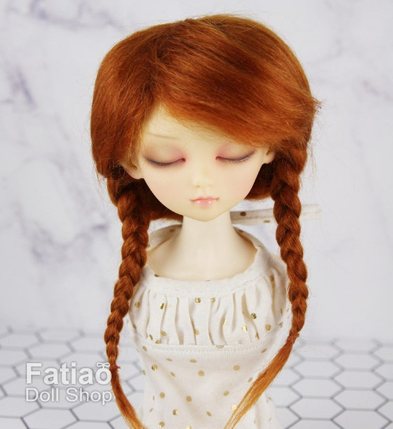 """1//4 or 1//3 bjd 7-8/"""" doll wig carrot red braid curly real mohair dollfie minifee"""