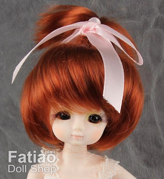 "New Dollfie Bisou AI Little DAL Pullip 1//12 BJD 4-5/"" Carrot Doll Wig"