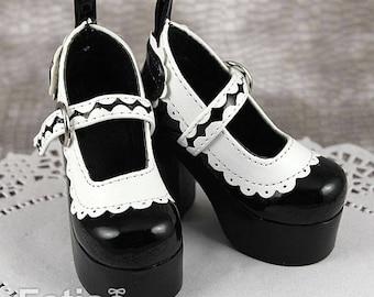 Fatiao - 1/3 BJD Super Dollfie SD Lace High Heeled Shoes - Black (Size 6.5cm)
