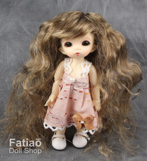 """New BJD Dollfie Pocket puki 3-4/"""" Dolls Wig Chocolate Fatiao"""