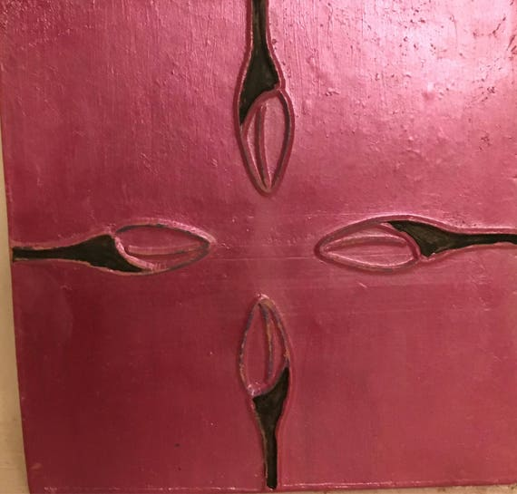 Van Briggle Pottery Tile Single Painted  4 buds