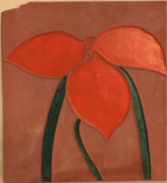Van Briggle Pottery Tile Single Painted Orange Flower