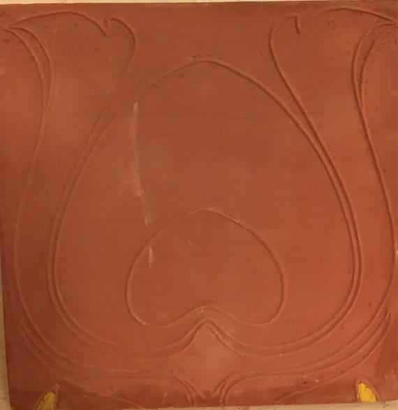 Van Briggle Pottery Tile Plain Peacock