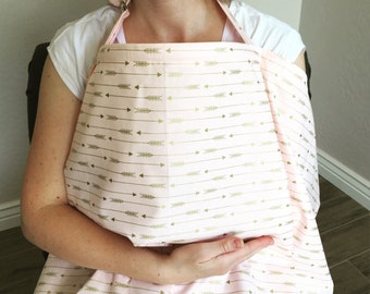 Nursing Cover / Soft Pink / Little Gold Arrows / Extra Large/ FREE SHIPPING in USA