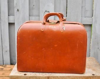 Vintage Monogrammed F.C.K.  Leather Beautiful Suitcase Antique Luggage