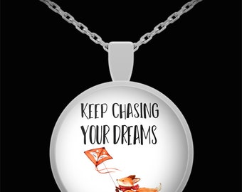 Keep Chasing Your Dreams Fox Pendant Necklace