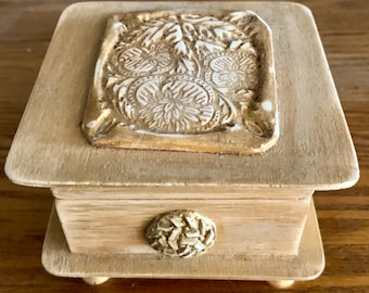 Hand crafted antiqued decorative box with clay embellishment