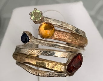 Multi band sterling silver and gold filled statement ring with gemstones