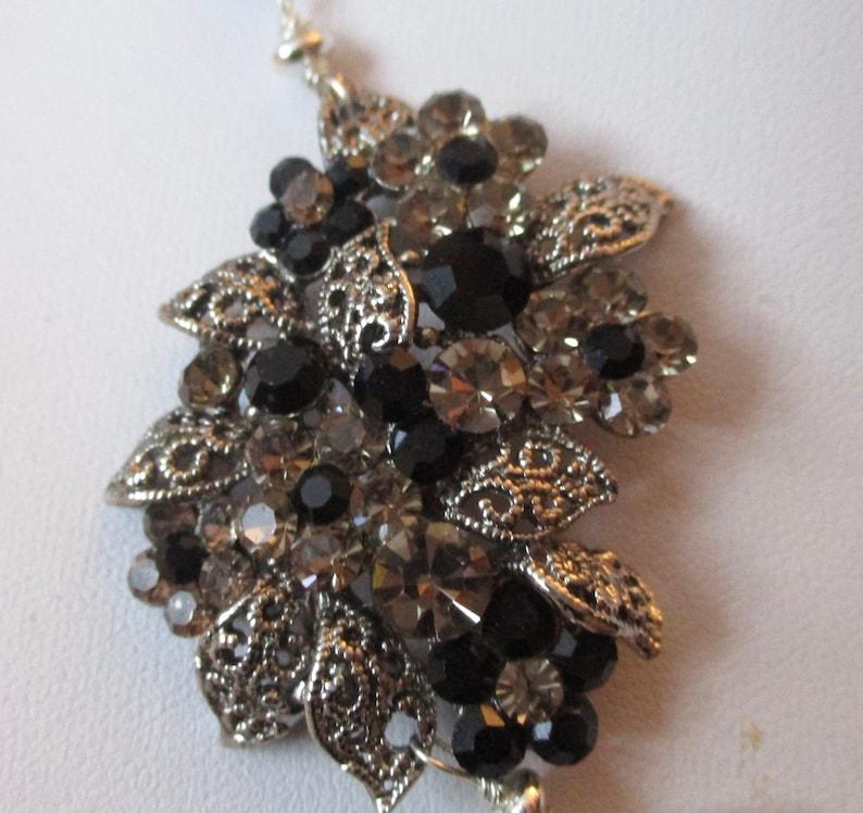 Vintage Art Deco Pendant with Onyx Beaded Chain
