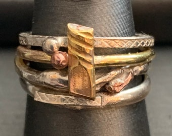 OOAK Sterling and gold filled stacking rings