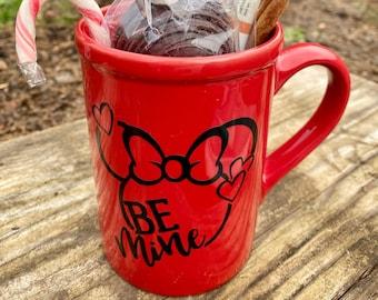 Be Mine Minnie Tall Red Mug w/ Optional Vegan Hot Chocolate Bomb & Cider, Sheet Mask, Quarantine Games
