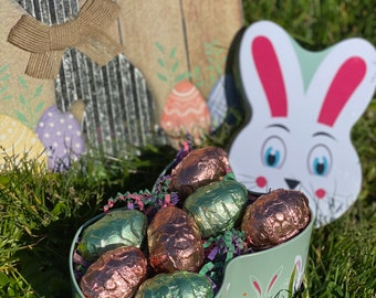 Vegan Creme Eggs in a Cute Bunny Tin | 5 or 7 Veggs | Easter | All Natural