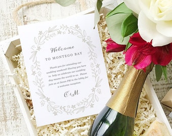 Wedding Welcome Note, Printable Wedding Welcome Bag Letter, Thank You, Floral Wreath, Itinerary, Agenda, Hotel Card - INSTANT DOWNLOAD
