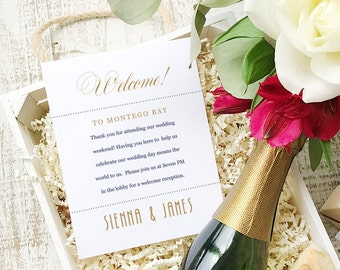 Wedding Welcome Note, Printable Wedding Welcome Bag Letter, Thank You, Ticket, Itinerary, Agenda, Hotel Card - INSTANT DOWNLOAD