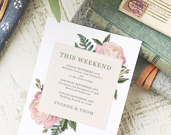 Wedding Agenda Card, Printable Wedding Timeline Letter, Events Card, Vintage Bouquet, Itinerary, Agenda, Hotel Card - INSTANT DOWNLOAD