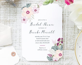 Printable Bridal Shower Template | INSTANT DOWNLOAD | Colorful Flowers | Word or Pages Mac & PC | 5x7 | Everly Paper Compatible