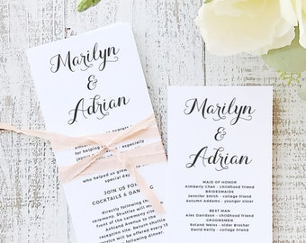 Instant Printable Wedding Program Template | INSTANT DOWNLOAD | Calligrapher | Flat Tea Length | Editable Colors | Mac or PC | Word & Pages