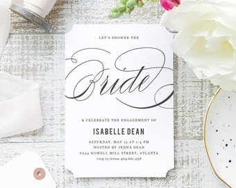 Printable Bridal Shower Template | INSTANT DOWNLOAD | Formal Script | Word or Pages Mac & PC | 5x7 | Everly Paper Compatible