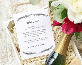 Wedding Welcome Note, Printable Wedding Welcome Bag Letter, Thank You, Quill, Itinerary, Agenda, Hotel Card - INSTANT DOWNLOAD