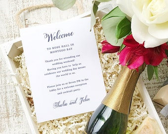 Wedding Welcome Note, Printable Wedding Welcome Bag Letter, Thank You, Romantic Script, Itinerary, Agenda, Hotel Card - INSTANT DOWNLOAD