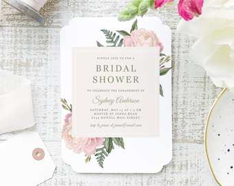 Printable Bridal Shower Template | INSTANT DOWNLOAD | Vintage Bouquet | Word or Pages Mac & PC | 5x7 | Everly Paper Compatible