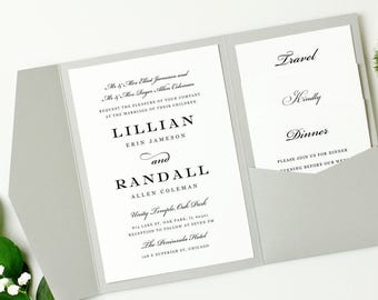 Pocket Wedding Invitation Template - INSTANT DOWNLOAD | Formal Script | Edit in Word or Pages | Print it Yourself | Mac & PC