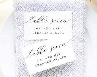 Printable Place Cards Template, Wedding Place Cards, Escort Cards, Script Name Cards, Modern Calligraphy | SUITE032