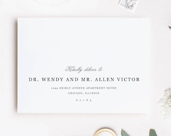 Printable Envelope Template | Classic Type | Calligraphy Alternative | for Word or Pages Mac & PC | INSTANT DOWNLOAD