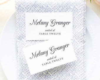 Printable Place Cards Template, Wedding Place Cards, Escort Cards, Script Name Cards, Southern Moonlight | SUITE029