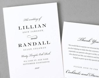 Wedding Program Template, Printable Wedding Program, Folded, Order of Service,  Formal Script, Cheap Programs, Mac or PC, INSTANT DOWNLOAD