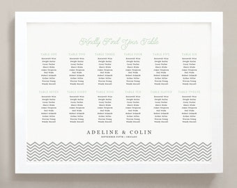 Printable Seating Chart Poster Template, Mint Chevron, Word or Pages, 18x24, Editable Artwork Colors,  INSTANT DOWNLOAD