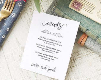 Wedding Agenda Card, Printable Wedding Timeline Letter, Events Card, Rustic Calligraphy, Itinerary, Agenda, Hotel Card - INSTANT DOWNLOAD