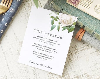 Ivory Botanical Agenda Card