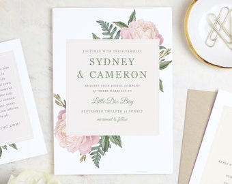 Printable Wedding Invitation Template | Vintage Bouquet | Word or Pages | MAC or PC | Editable Artwork Colors - Instant DOWNLOAD