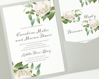 INSTANT DOWNLOAD | Printable Pocket Wedding Invitation | Ivory Botanical | Edit in Word or Pages | Print it Yourself | Mac & PC