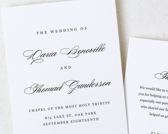 Wedding Program, Program Template, Instant Download, Formal Program, Folded Program, DIY Wedding Program, Script, Calligraphy, Classic