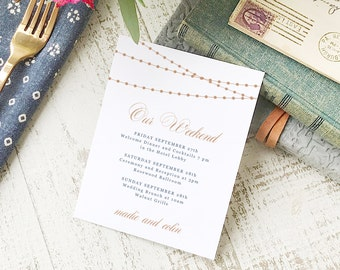 Wedding Agenda Card, Printable Wedding Timeline Letter, Events Card, Lights, Itinerary, Agenda, Hotel Card - INSTANT DOWNLOAD