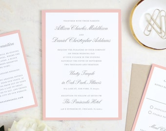 Printable Wedding Invitation Template | Grey and Pink Script | Word or Pages | MAC or PC | Editable Artwork Colors - Instant DOWNLOAD