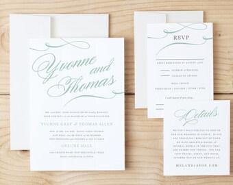 Printable Wedding Invitation, Wedding Invitation Template, Aqua Script Elegance, Word or Pages, Editable Colors, INSTANT DOWNLOAD