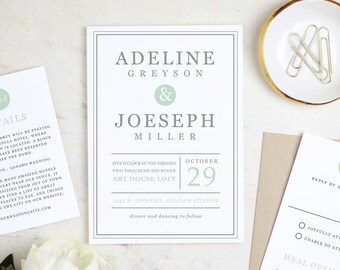 Printable Wedding Invitation Template | Mint Type | Word or Pages | MAC or PC | Editable Artwork Colors - Instant DOWNLOAD